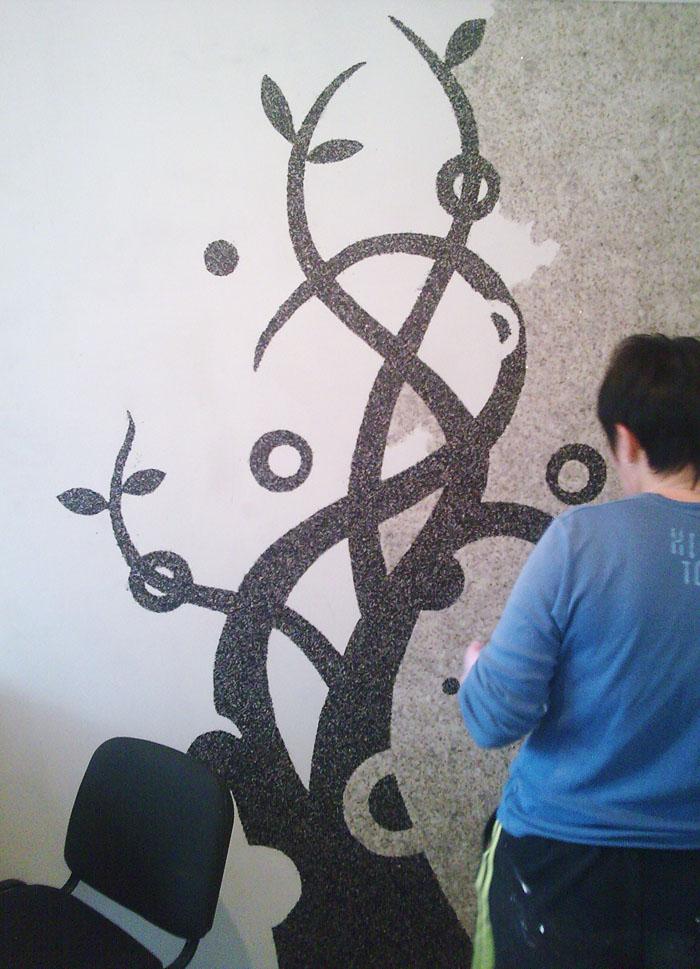 Жидкие обои рисунок на стене своими руками